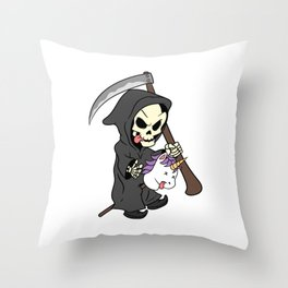 Unicorn Scary Scythe Creepy Spooky Skeleton Collection Design Halloween Trick Or Treat Death Grim Throw Pillow