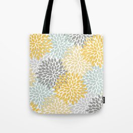 Floral Pattern, Yellow, Pale, Aqua, Blue and Gray Tote Bag