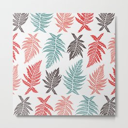 Inked Ferns – Red & Green Palette Metal Print