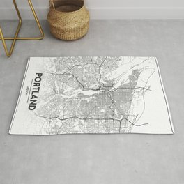 Minimal City Maps - Map Of Portland, Oregon, United States Rug