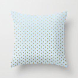 Pale blue with faux gold foil dots Throw Pillow