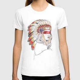 Girl with Native American War Bonnet T-shirt