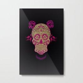 Sugar Skull Green and Pink Metal Print