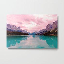 Mountains in Violet Pink Blue Metal Print