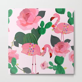 Flamingos. Exotic Birds with cactus and roses artistic design pattern Metal Print