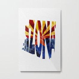 Arizona Typographic Flag Map Art Metal Print