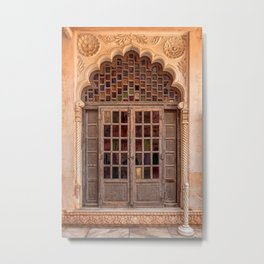 Wooden stained glass door at Jodhpur Fort, India Metal Print