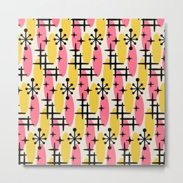 Retro Mid Century Modern Cosmic Surfer Pattern 232 Pink and Yellow Metal Print