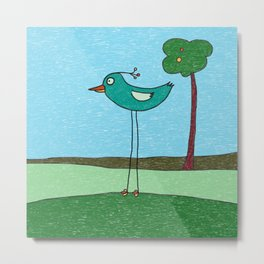 Tall Bird and a Tree Metal Print