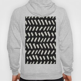 Tribal Dance Dot - Ivory on Black Hoody