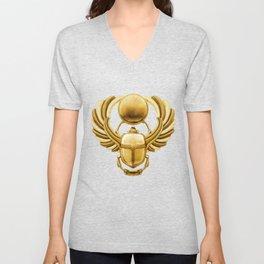 Gold Egyptian Scarab Unisex V-Neck