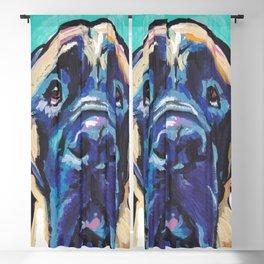 Fun ENGLISH MASTIFF Dog bright colorful Pop Art Painting by LEA Blackout Curtain