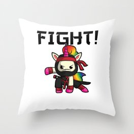 Unicorn Ninja Shinobi fight Japan Children Gift Throw Pillow