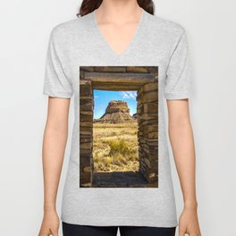 Faraday Butte at the Entrance to Chaco Canyon, New Mexico Unisex V-Neck