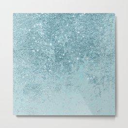 Modern abstract teal glitter blush tones marble Metal Print