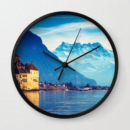 Stunnigly Spectacular Romantic Fairytale Chillon Castle Lake Geneva Swiss Europe Ultra HD Wall Clock