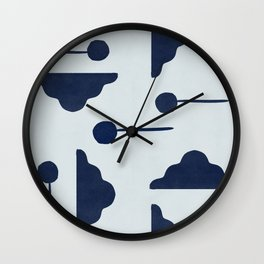 Clouds and lollipops - marine blue version Wall Clock