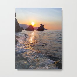 Amazing sunset light Rocky beach rocks in the Sea Natural environment Metal Print