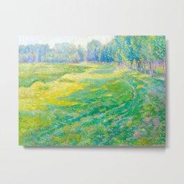 Václav Radimský (1867-1946) On the Dike Colorful Impressionist Landscape Oil Painting Metal Print