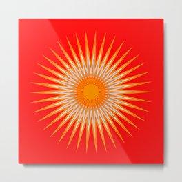 Vibrant Red Sun Mandala Metal Print