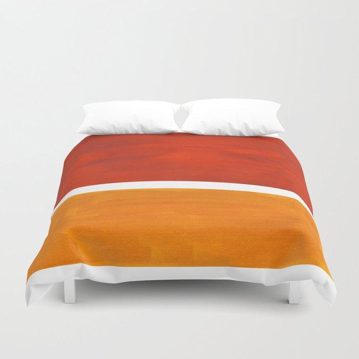 Burnt Orange Yellow Ochre Mid Century Modern Abstract Minimalist Rothko Color Field Squares Bettbezug