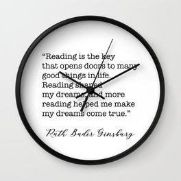 RBG Quotes - Reading is the key Wall Clock