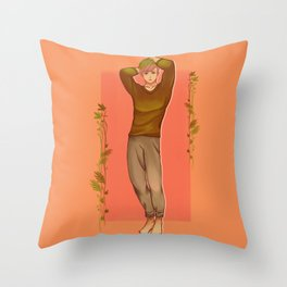 Green Haired Soft Boy with Peachy colored theme Throw Pillow