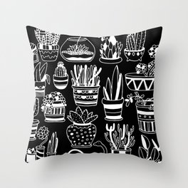 Succulent Party (Night Version) Throw Pillow