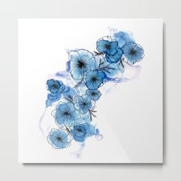 Blue Liquid Flowers Metal Print