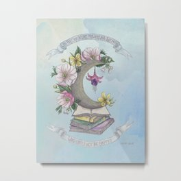 Freedom, Books, Flowers and The Moon Metal Print