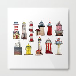 Watercolor lighthouses of world Metal Print
