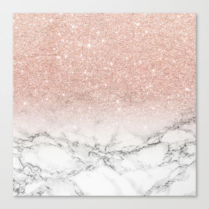 Modern faux rose gold pink glitter ombre white marble Leinwanddruck
