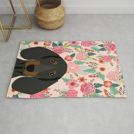 Dachshund florals cute pet gifts black and tan dachshund gifts for dog lover with weener dog Rug