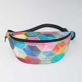 Crystal Bohemian Honeycomb Cubes - colorful hexagon pattern Fanny Pack