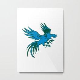 Fighting Cock Shuffling Retro Metal Print