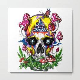 Magic Mushrooms Psychedelic Skull Metal Print