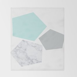 Geo marble and turquoise Throw Blanket