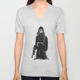 Grim reaper with gas mask,and weapon , military death illustration , gothic skull cartoon Unisex V-Neck