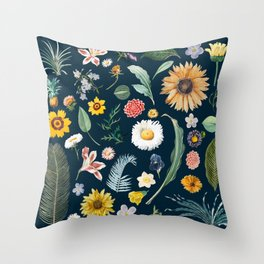 vintage flower illustration navy Throw Pillow