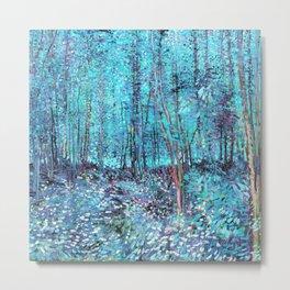 Van Gogh Trees & Underwood Turquoise & Amethyst Metal Print