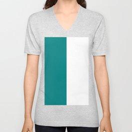 White and Dark Cyan Vertical Halves Unisex V-Neck