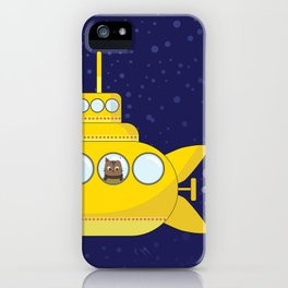 Yellow submarine in deep sea with a cat and bubbles iPhone Case