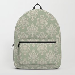 Sage Green and Cream Damask Pattern Backpack