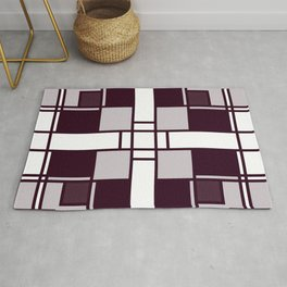 Neoplasticism symmetrical pattern in pinkish gray Rug
