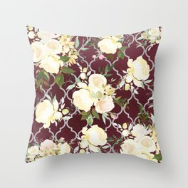 Country chic burgundy white quatrefoil watercolor floral Throw Pillow