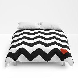 Heart & Chevron - Black/Classic Red Comforters