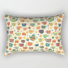 Vintage tea party - tea cups and sweets beige Rectangular Pillow