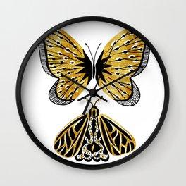 Golden Butterfly & Moth Wall Clock
