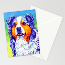 Colorful Blue Merle Australian Shepherd Dog Stationery Cards