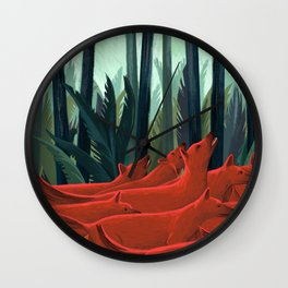 Red Dogs Wall Clock